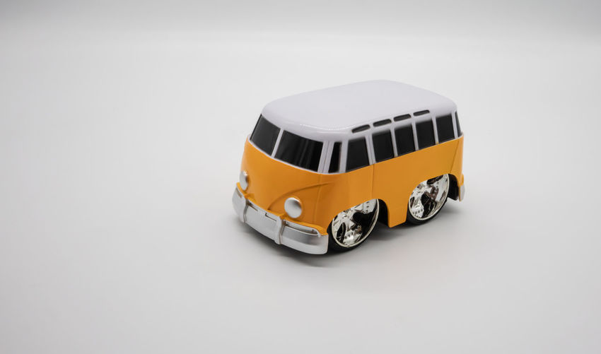 High angle view of toy car on white background