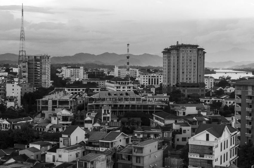 Hue city Architecture Beauty In Nature Black And White Building Exterior Built Structure City City Cityscape Cloud - Sky Crowded Crowed Day Famous Place History Place Huế King KINGDOM Mountain Range Old Capital Outdoors Residential Building Sky Travel Destinations