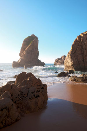 Ursa Beach Ursa Portugal Ocean View Beach Beauty In Nature Clear Sky Day Horizon Over Water Nature No People Ocean Outdoors Rock Rock - Object Rock Formation Sand & Sea Scenics Sea Sky Tranquil Scene Tranquility Water Waves, Ocean, Nature Blue