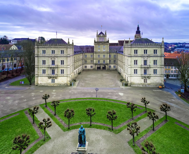 Air view of the Ehrenburg Palace in Coburg, Bavaria, Germany The Ehrenburg Palace, Town, Aerial View, Air, Air View, Architecture, Bavaria, Birds Eye Perspective, Building, Castle, Cities, Coburg, Culture, Day, Destinations, Details, Europe, European, Fort, Fortress, Germany, Historic, House, Middle Age, Travel