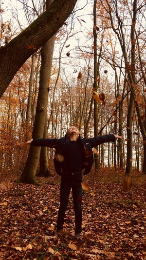 Laughing Enjoying Nature Enjoying Life Dancing Colourful Wood Leaf Tree Full Length Leisure Activity Nature One Person Lifestyles Standing Plant Land Forest Outdoors Autumn Autumn Mood 50 Ways Of Seeing: Gratitude