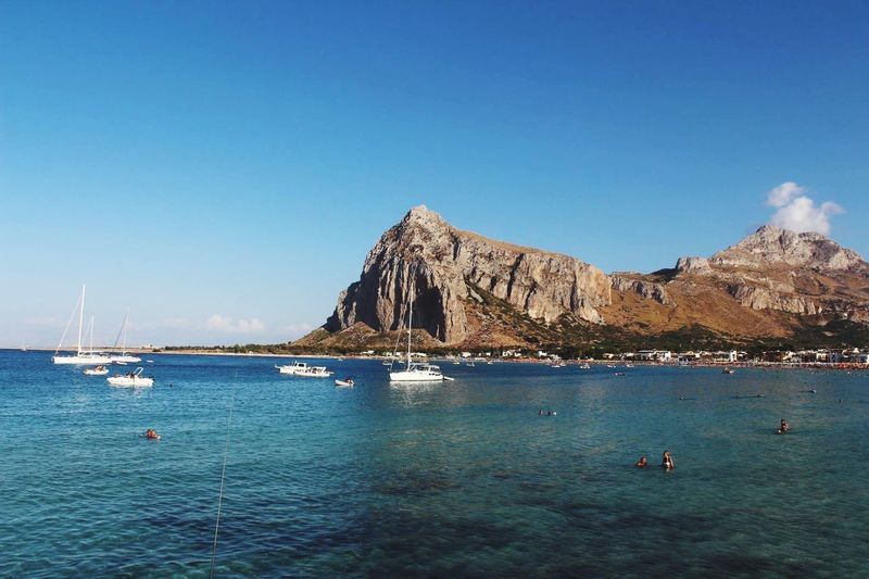 Italy Sicily Water Sky Sea Waterfront Nautical Vessel Blue Transportation Beauty In Nature Tranquility Travel Mountain Outdoors Clear Sky