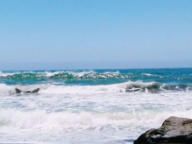 Sea Beach Wave Horizon Over Water No People Sky Outdoors Nature Blue Day Clear Sky Water Sand Beauty In Nature Scenics Travel Destinations Tide Coming In Sunny Power In Nature California Love California Coast Tide Returning Nature Landscape Relaxation