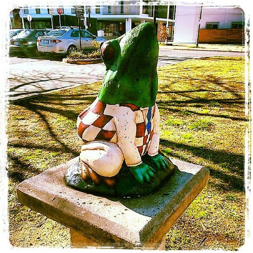I wonder if the Wind in the Willows inspired this painted Sculpture ..,