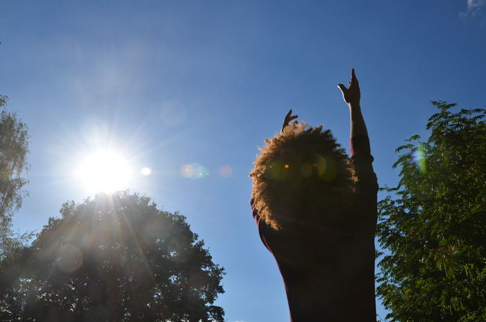reaching for my dreams Afro Afrohair Bright Bright Blue Sky Dream Flares Philosophy Reach Reaching Reaching For The Sky Reaching For The Sun Silouette Sky Sun Sunlight Tree