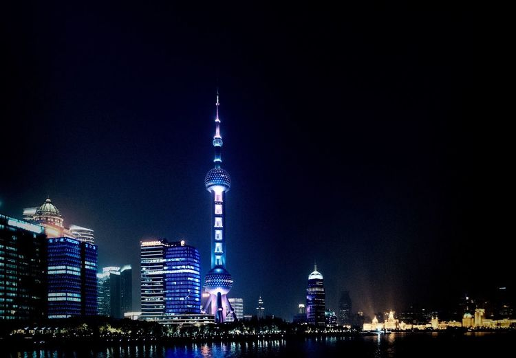 All Lights On... Oriental Pearl Tower TV Tower Building Exterior Architecture Built Structure Night Building Illuminated City Sky Skyscraper Tall - High Tower Travel Destinations Cityscape Urban Skyline No People