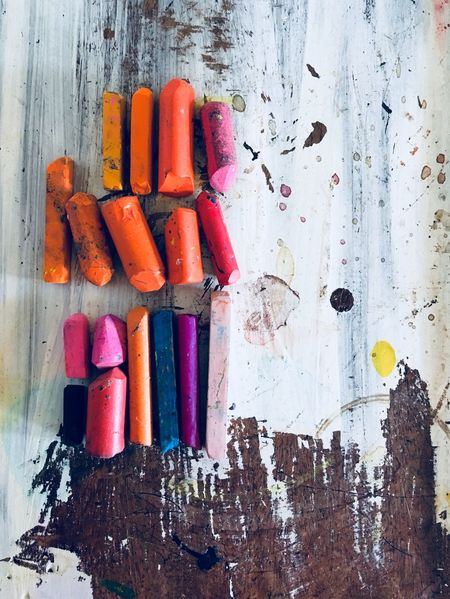 Art Equipment Art Supplies Multi Colored Still Life No People Arrangement Art And Craft Crayon Indoors  Wood - Material Creativity