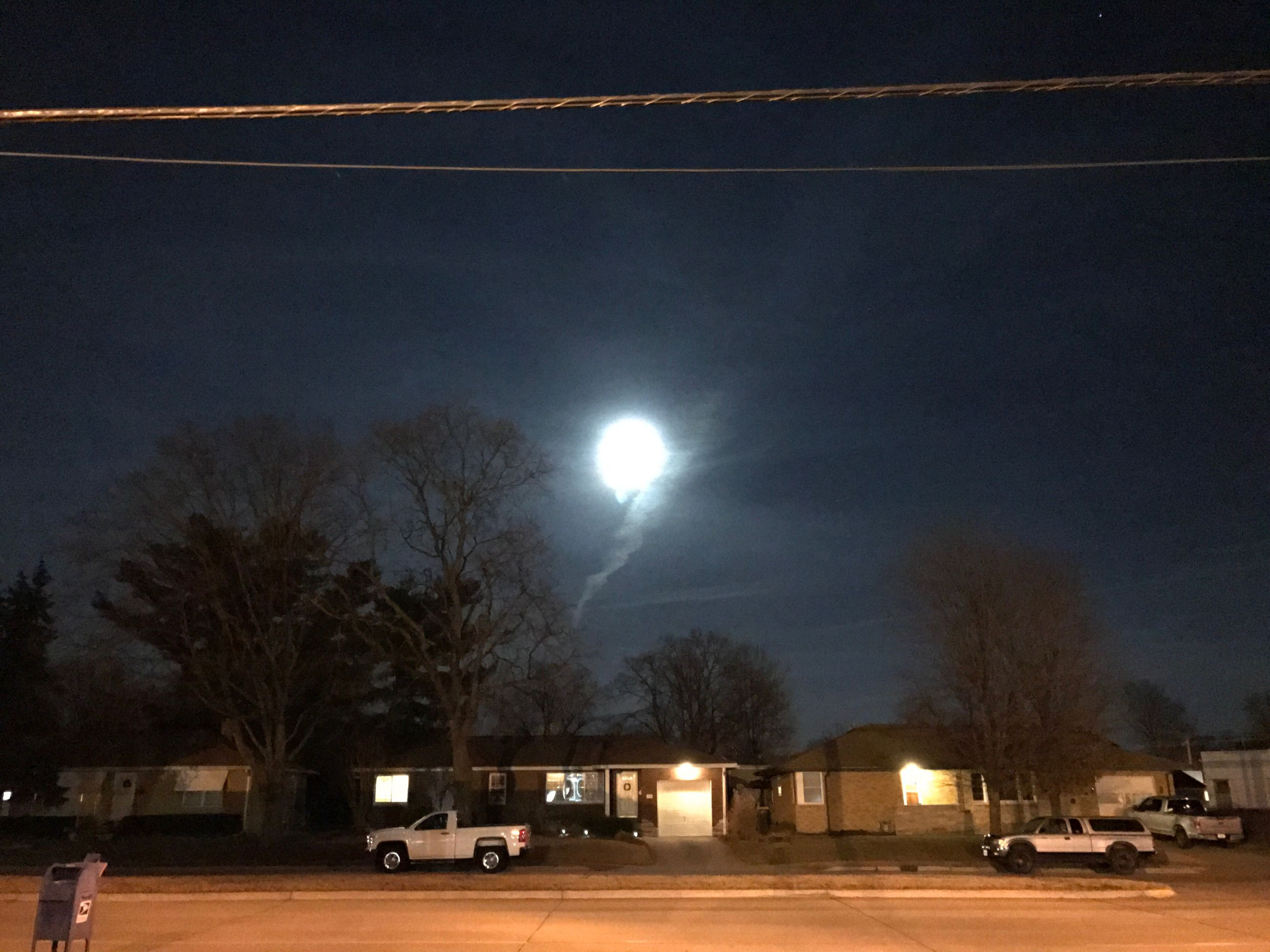 night, illuminated, sky, tree, moon, outdoors, no people, astronomy