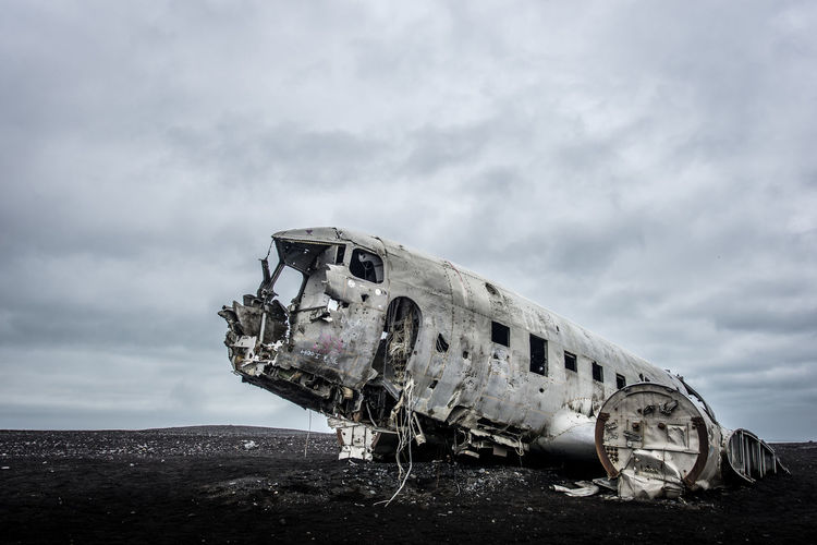 Plane Iceland Abandoned Aerospace Industry Air Vehicle Airplane Bad Condition Broken Cloud - Sky Crash Damaged Decline Demolished Deterioration Iceland_collection Mode Of Transportation Nature No People Obsolete Old Outdoors Ruined Run-down Sky Transportation Travel Weathered EyeEmNewHere