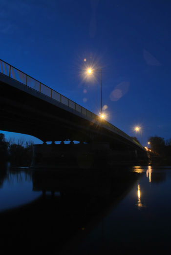 Under the bridge Clear Sky Night Lights Night Shot River View Under The Bridge Architecture Beauty In Nature Bridge - Man Made Structure Bridge View Built Structure Illuminated Moon Nature Night Night View No People Outdoors Reflection River Sky Star - Space Transportation Water