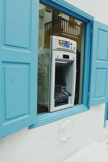 Mykonos Island Life Outdoor Photography Atm Cash Machine Window White And Blue Technology Smart Practical