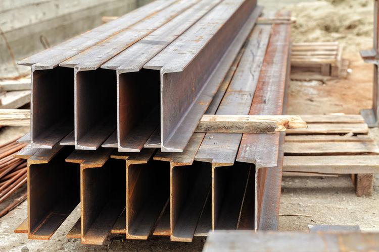 Metal beams lie