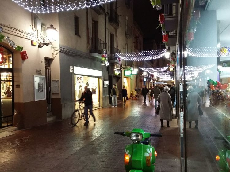 Embrace Urban Life Store Retail  Street Illuminated City Night Architecture Christmas Decoration Christmas People Outdoors Sabadell, Catalonia