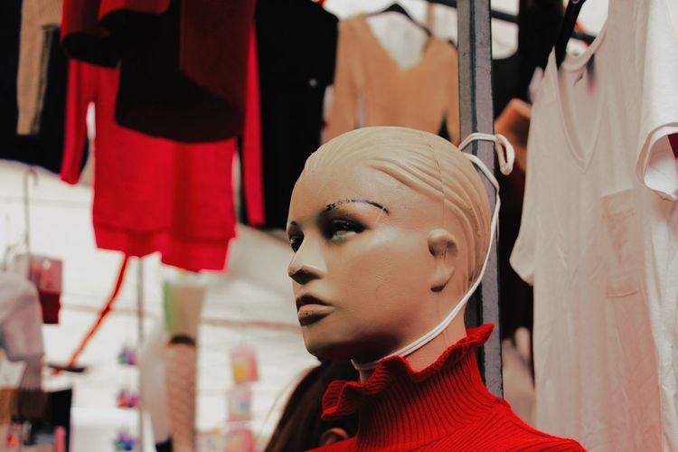 Close-up portrait of mannequin in store