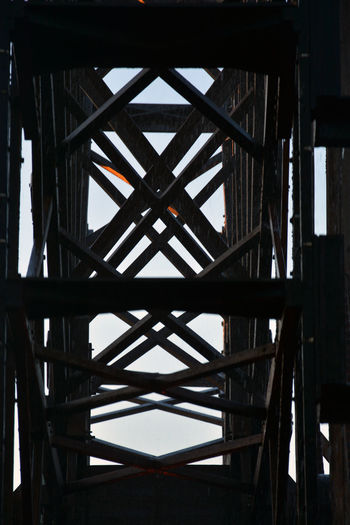 Alloy Architecture Bridge Built Structure Close-up Connection Day Girder Indoors  Industry Low Angle View Metal Nature No People Pattern Sky Steel Sunlight Transportation Underneath Wood - Material