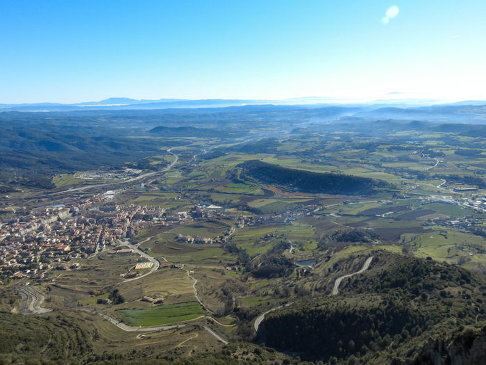 Aerial view of landscape against clear sky