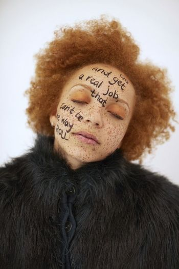 Afro Asleep Close-up Editorial  Eyes Closed  Fashion Fashion Editorial Fashion Photography Freckles Fur Ginger Gingerhair Headshot Makeup Model Orange Portrait Song Lyrics Writing