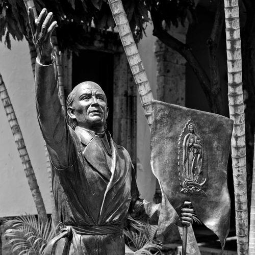 Bronze statue in park