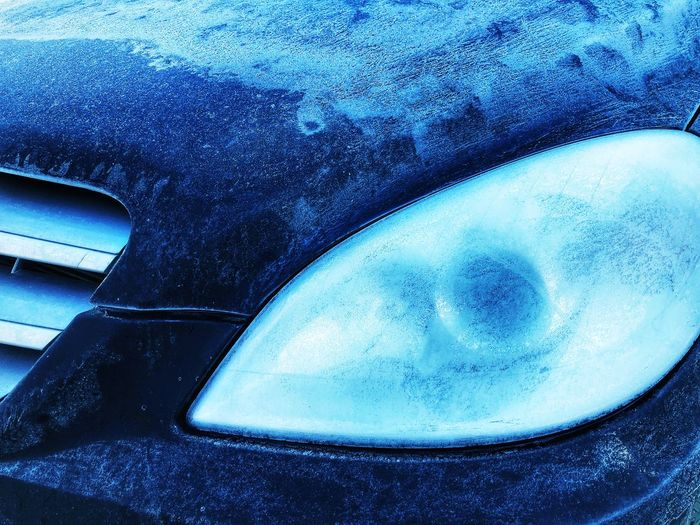Blue No People Day Car Frozen Cold Winter Morning Close-up Motor Vehicle Mode Of Transportation Transportation Land Vehicle Outdoors Detail Cold Temperature Metal Front Light