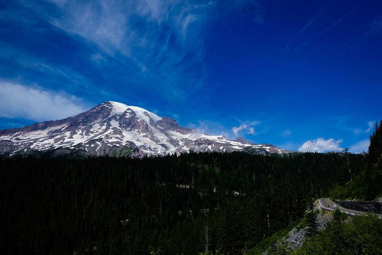 Landscape against snowed mountain range
