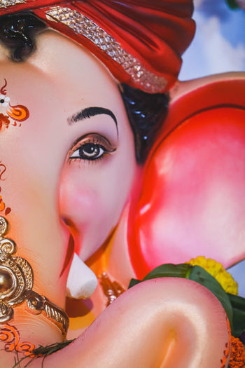 ganpati bappa morys Expression HDR Love Positive Vibes God Love Cute New Mumbai Ganesha Festival Close-up Cute Canonphotography Peace Ekdant Siddhivinayak Worship Hope Smiling Lord Ganesha Power Wealth Trust Faith Eyelash Portrait Beauty Multi Colored Headshot
