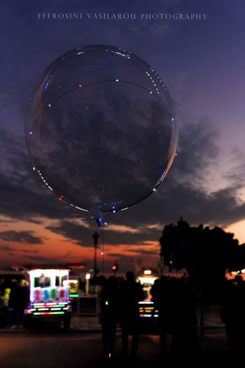 Christmas Decoration Square Balloon Glow Lights And Shadows EyeEmNewHere EyeEmBestPics Colors EyeEm Best Shots EyeEm Sky And Clouds Candy Store Thessaloniki Greece Fun Sky