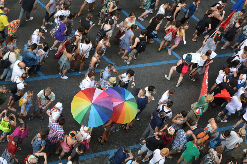 Bologna Pride, 25/06/2016. Photos from my window. Bologna Bologna Pride Crowd Friendly Fun Gay Gay Pride Leisure Activity Lesbian Lgbt LGBT Parade Lgbtpride Lifestyles Outdoors Parade Streetphotography Embrace Urban Life Rainbow Rainbow Umbrella Rainbow Colors Colour Of Life People Love Prideparade Pride March Flying High Adventures In The City Love Is Love