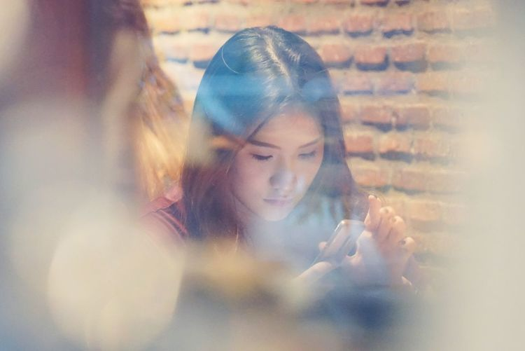 snapshot Young Women Women Headshot Beautiful Woman Business Looking Down Close-up