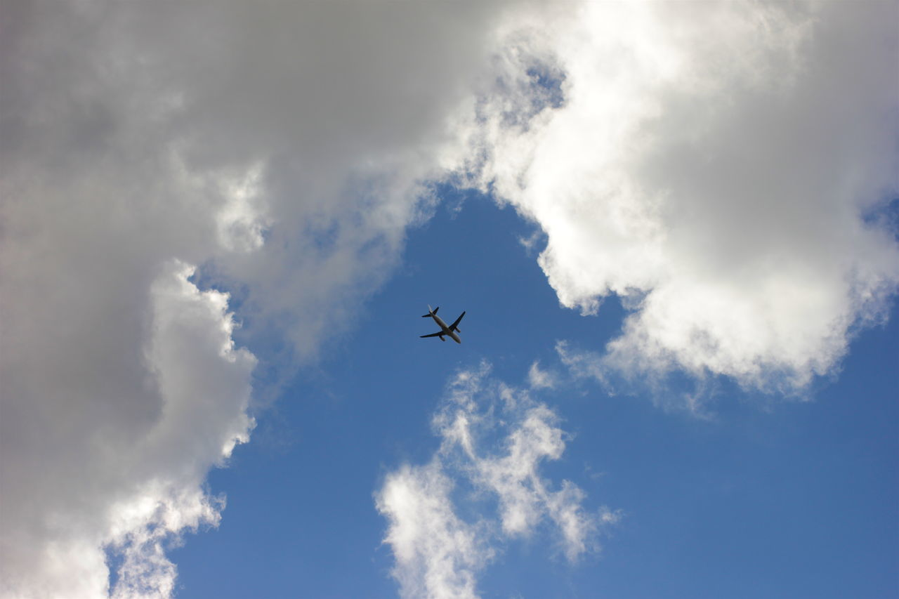 sky, low angle view, flying, airplane, cloud - sky, transportation, journey, travel, blue, air vehicle, outdoors, no people, day