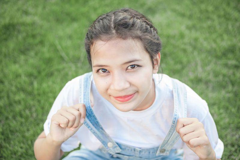 Portrait of teenage girls smiling