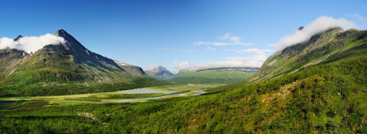 Sarek National Park Lappland National Park Panorama Sarek Sweden Sweden ❤️ Beauty In Nature Cloud - Sky Day Grass Green Color Lake Landscape Mountain Mountain Range Nationalpark Nature No People Outdoors Panorama View Scenics Sky Sweden Nature Sweden-landscape Valley An Eye For Travel