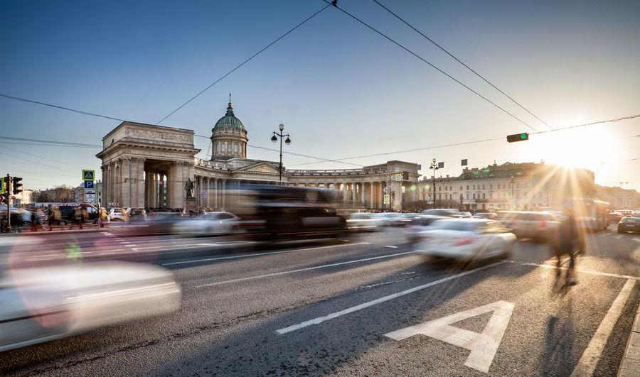 Kazan Cathedral Russia Saint Petersburg Orthodox Church Orthodox City Dome Motion Speed Blurred Motion Sunset Sky Architecture Public Transportation Moving