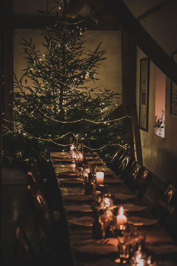 High angle view of illuminated christmas tree on table