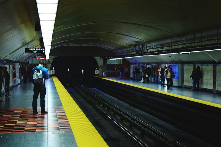 Railroad Station Full Length Railroad Station Platform Transportation People Commuter Railroad Track Walking Adult Public Transportation Silhouette Adults Only Large Group Of People Subway Train Indoors  Men City Day Nikonography The Street Photographer - 2017 EyeEm Awards Montréal Paint The Town Yellow