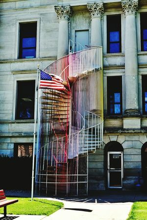 Old Buildings Yarn Bombing Sunny Day Color Photography Rural America