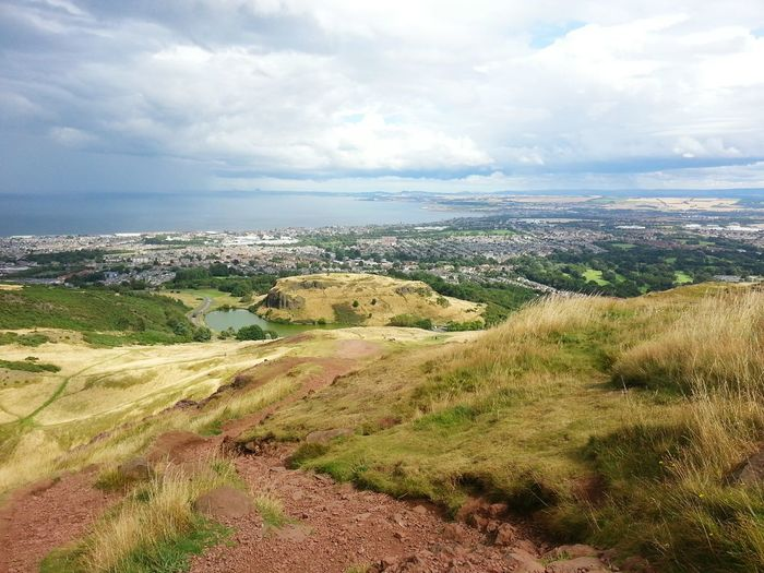 View From The Top, Arthurs Seat, Edinburg, Scotland Landscape Northernsea Sea Hilltop Horizon Over Water Clouds