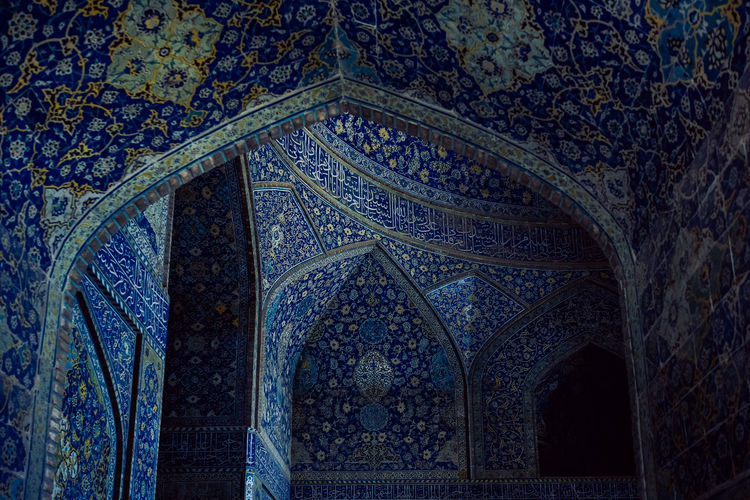 Emam Mosque in Isfahan in Iran Tourist Attraction  Arch Architectural Column Architecture Architecture And Art Art And Craft Blue Craft Creativity Design Esfahan Floral Pattern History Indoors  Iran Isfahan Islam Mosque No People Ornate Pattern Place Of Worship Religion Travel Destinations