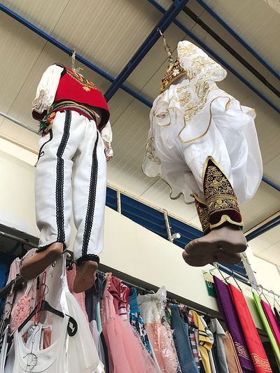 Albanian Traditional dressing Traditional Dress EyeEm Selects Low Angle View Hanging Indoors  No People Retail  Lighting Equipment Store Mannequin Small Business For Sale Representation Creativity Day Fashion