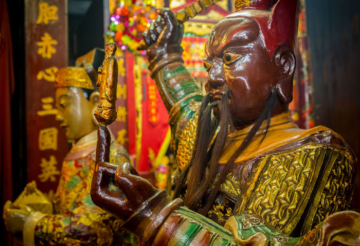 Image from Man Mo temple, Hong Kong God Man Mo Man Mo Temple Architecture Art And Craft Belief Buddism Buddist Temple Chinese Close-up Focus On Foreground Gold Colored Human Representation Indoors  Male Likeness One Person Place Of Worship Religion Representation Sculpture Spirituality Statue Statues Temple Traditional Clothing