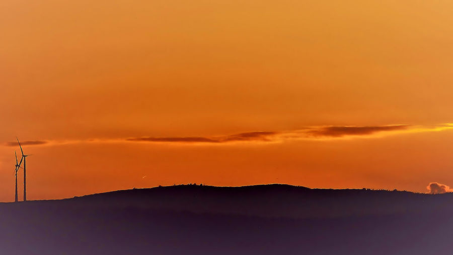 Abendhimmel Aulhausen Sonnenuntergang Sunset Nature Sky Landscape Silhouette Day Outdoors Tranquility Dramatic Sky Scenics Beauty In Nature No People Alternative Energy Orange Color Cloud - Sky Fuel And Power Generation EyeEmNewHere