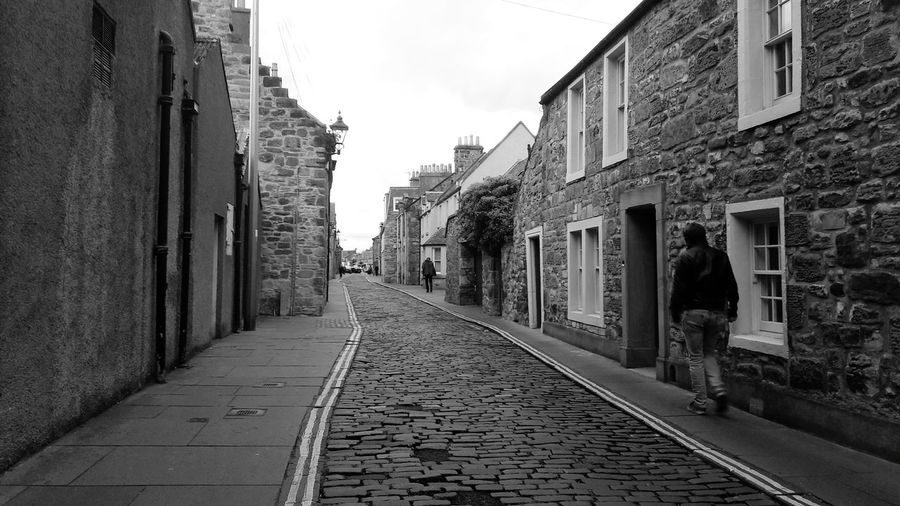 St Andrews Architectural Detail Vanishing Point Black And White Perspective Man Daylight Filter