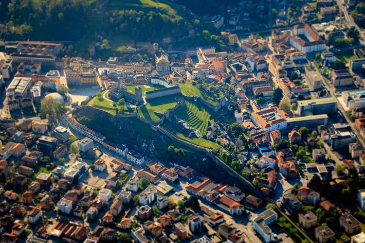 Switzerland Bellinzona Castle Aerial View Tiltshift Miniature City