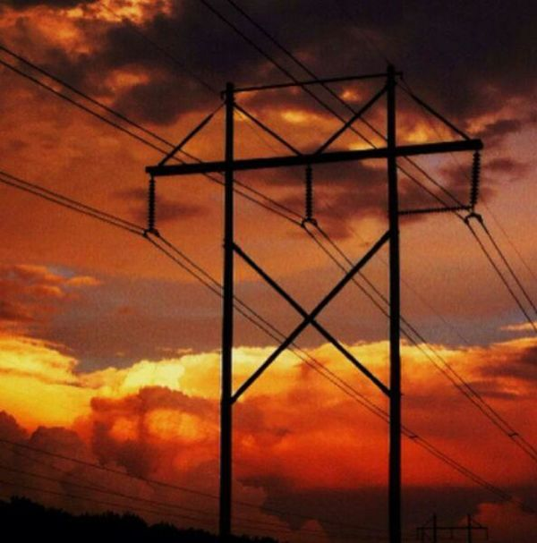 Red RedClouds  Power Lines Sunset Pretty Outside