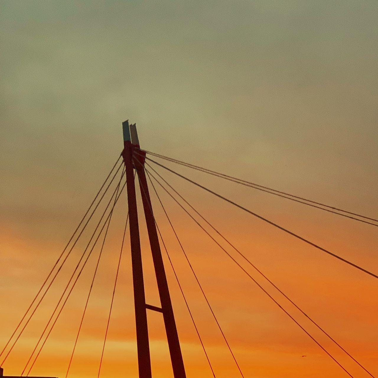 sky, sunset, cable, connection, transportation, no people, nature, bridge, cloud - sky, low angle view, architecture, orange color, outdoors, bridge - man made structure, built structure, dusk, cable-stayed bridge, suspension bridge, strength