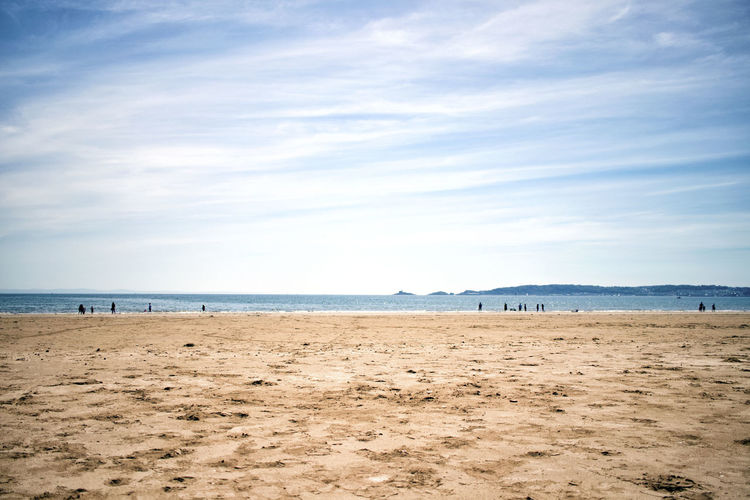 Swansea Beach Beauty In Nature Cloud - Sky Day Horizon Horizon Over Water Incidental People Land Mumbles Nature Non-urban Scene Outdoors Sand Scenics - Nature Sea Sky Tranquil Scene Tranquility Water