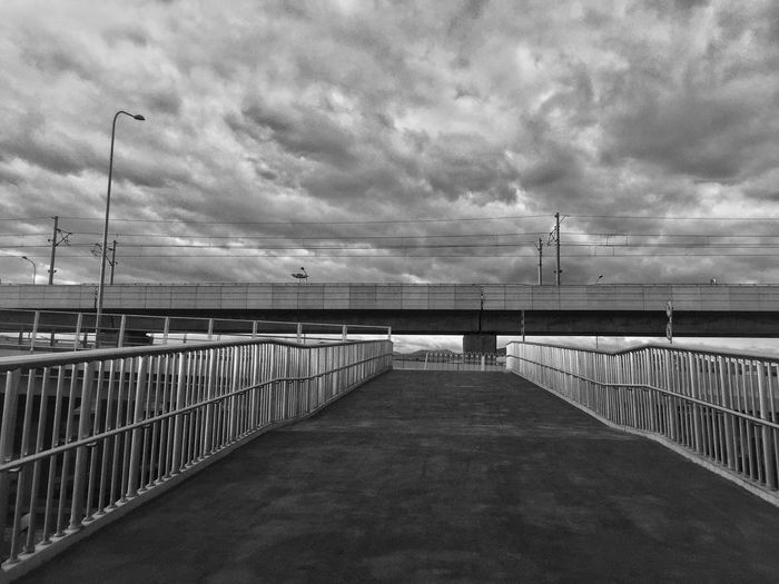 Cloud - Sky Sky Connection Railing Bridge Built Structure Architecture The Way Forward Nature Transportation Direction Bridge - Man Made Structure Water Tranquility Sea No People Outdoors Pier Beauty In Nature Footbridge
