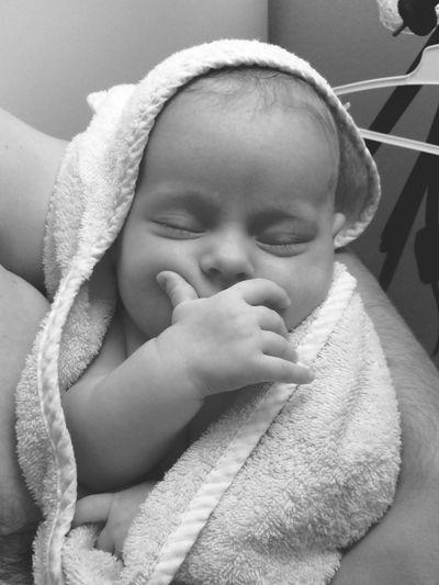 Childhood Portrait Human Hand Wrapped Cute Babyhood Baby Towel Headshot