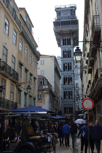 Elevador De Santa Justa Lisbon Lissabon, Portugal Lisbon - Portugal Building Exterior Architecture City Group Of People Street Built Structure Real People Crowd Transportation Mode Of Transportation Building Day Lifestyles Outdoors City Street