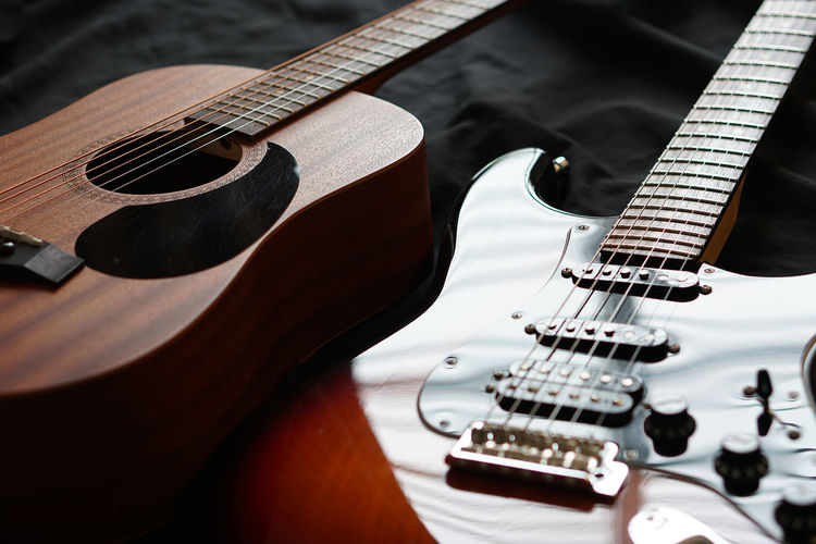 High angle view of guitars