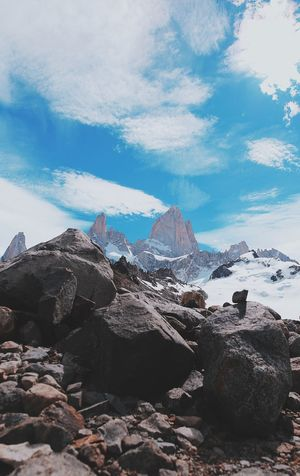 Sky Cloud - Sky Rock Mountain Solid Beauty In Nature Rock - Object Scenics - Nature Tranquility Tranquil Scene Nature Day No People Landscape Non-urban Scene Rock Formation Environment Outdoors Idyllic Geology Mountain Peak